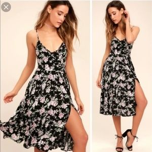 LULU's Esperanza Black Floral Midi Dress Small